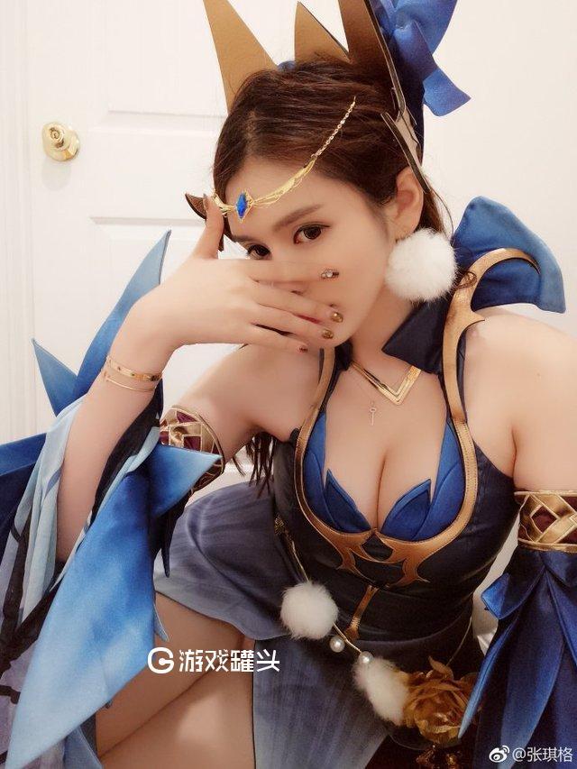 张琪格cos王者荣耀大胸女英雄照片 肤白貌美一览无余