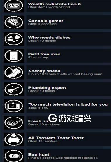 小偷模拟器游戏全成就一览 steam版成就内容解读