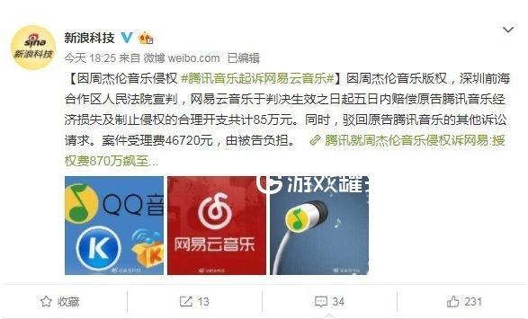 腾讯因为周杰伦音乐版权起诉网易云音乐 索赔成功85万