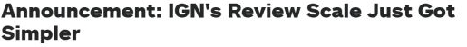 IGN评分机制改为整数制 评分分数等于游戏的推荐等级