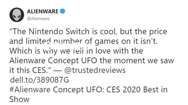 外星人新掌机获CES 2020最佳展示奖 评语吐槽NS游戏又贵又少